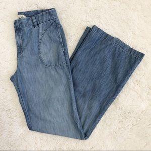 Level 99 Boho Wide Leg Chambray Jeans Inseam 33.5